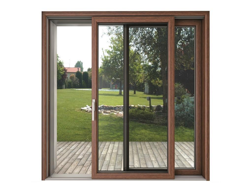 درب شیشه ای کشویی با فرم چوب