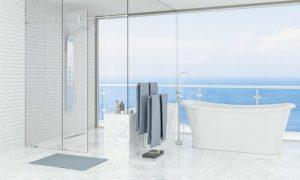 شیشه دور دوشی، مانع از ورود آب حمام به اتاق خواب میشود.